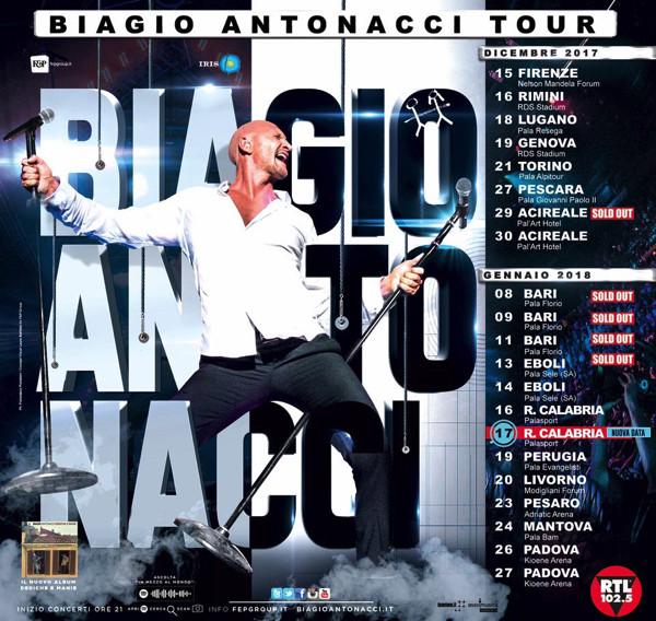 Biagio Antonacci, la scaletta del Tour 2017-2018