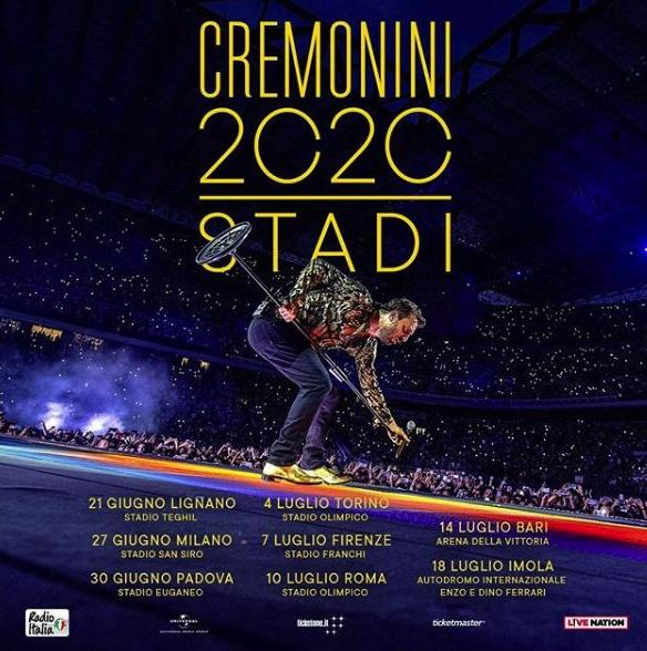 Scaletta concerti Cesare Cremonini 2020